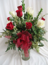 A Dozen Mixed Red and White Roses from Carter's Flower Shop in Farmville, VA