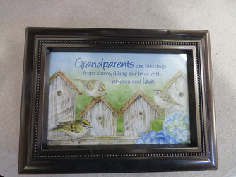 Grandparents Sentiment Photo Music Box by Carson from Carter's Flower Shop in Farmville, VA