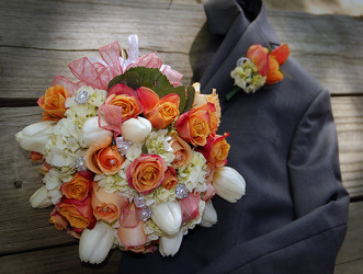 Bridal Bouquet Peachy from Carter's Flower Shop in Farmville, VA