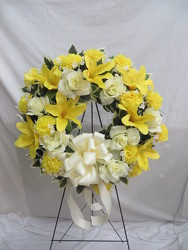 Yellow Silk Sympathy Wreath from Carter's Flower Shop in Farmville, VA